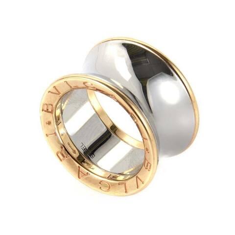 Bvlgari Bulgari Rose Gold and Stainless Steel Band Ring Size 6