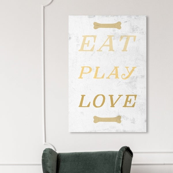 Oliver Gal '18610 Eat Play Love' Animals Wall Art Canvas Print - Gold, Gray