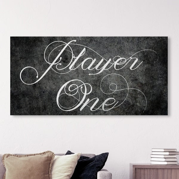 Oliver Gal 'Player One' Typography and Quotes Wall Art Canvas Print - Black, White