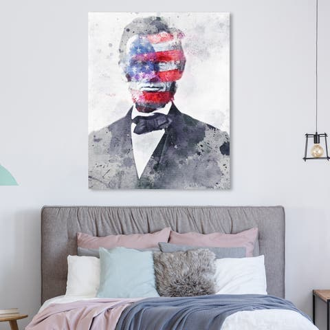 Oliver Gal 'Lincoln For America' Americana and Patriotic Wall Art Canvas Print - Red, White