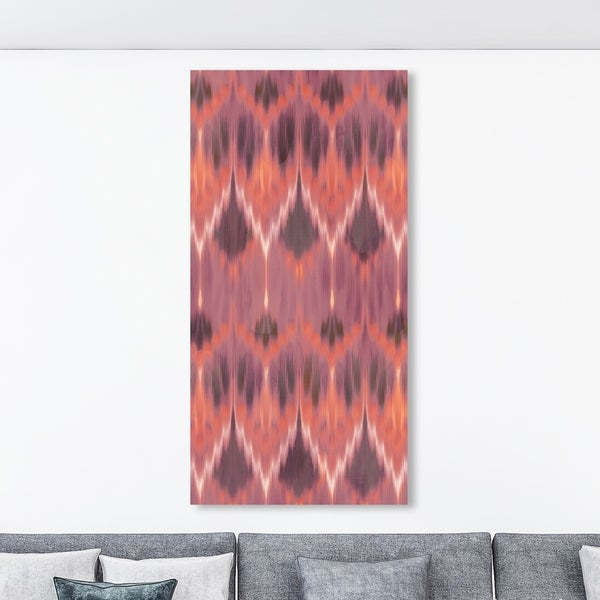 Oliver Gal '18584 Coral Ikat Tall' Abstract Wall Art Canvas Print - Red, Brown