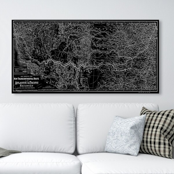 Oliver Gal 'Atlantic and Pacific Railroad map 1883' Maps and Flags Wall Art Canvas Print - Black, Gray