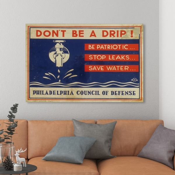 Oliver Gal 'Don't Be A Drip' Advertising Wall Art Canvas Print - Blue, Red