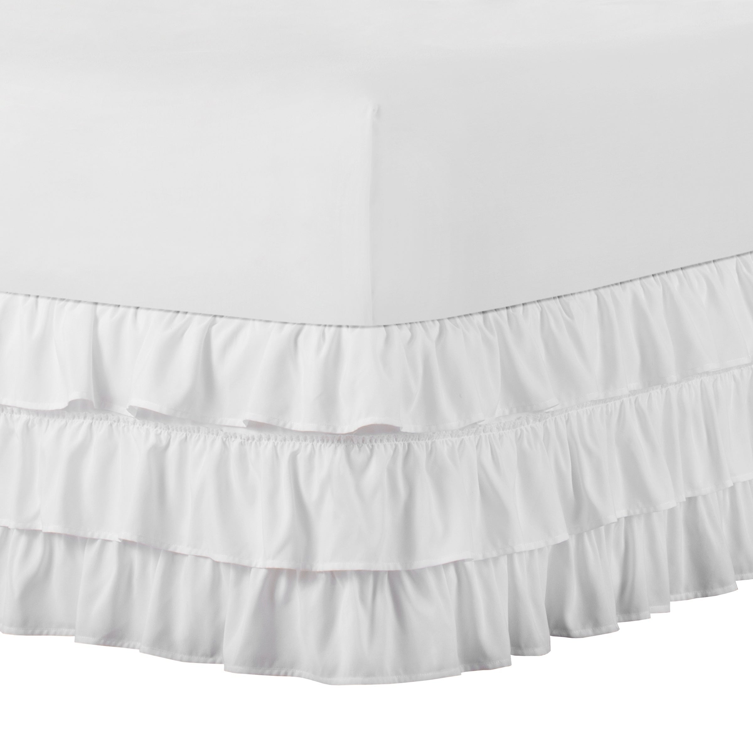 "Waterfall 3-Layer Ruffled Bed skirt 14/"" Drop"