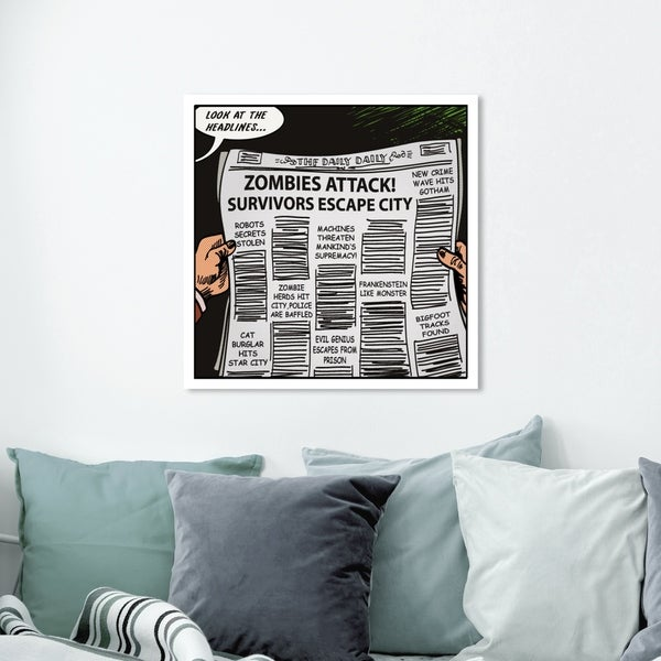 Oliver Gal ' Look At The Headlines' Advertising Wall Art Canvas Print - Black, White
