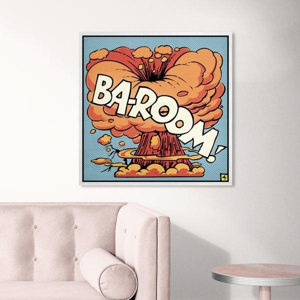 Oliver Gal ' Ba-Room' Advertising Wall Art Canvas Print - Orange, Blue