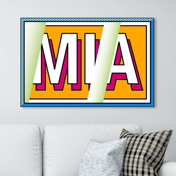 Oliver Gal ' M-I-A' Advertising Wall Art Canvas Print - Yellow, White