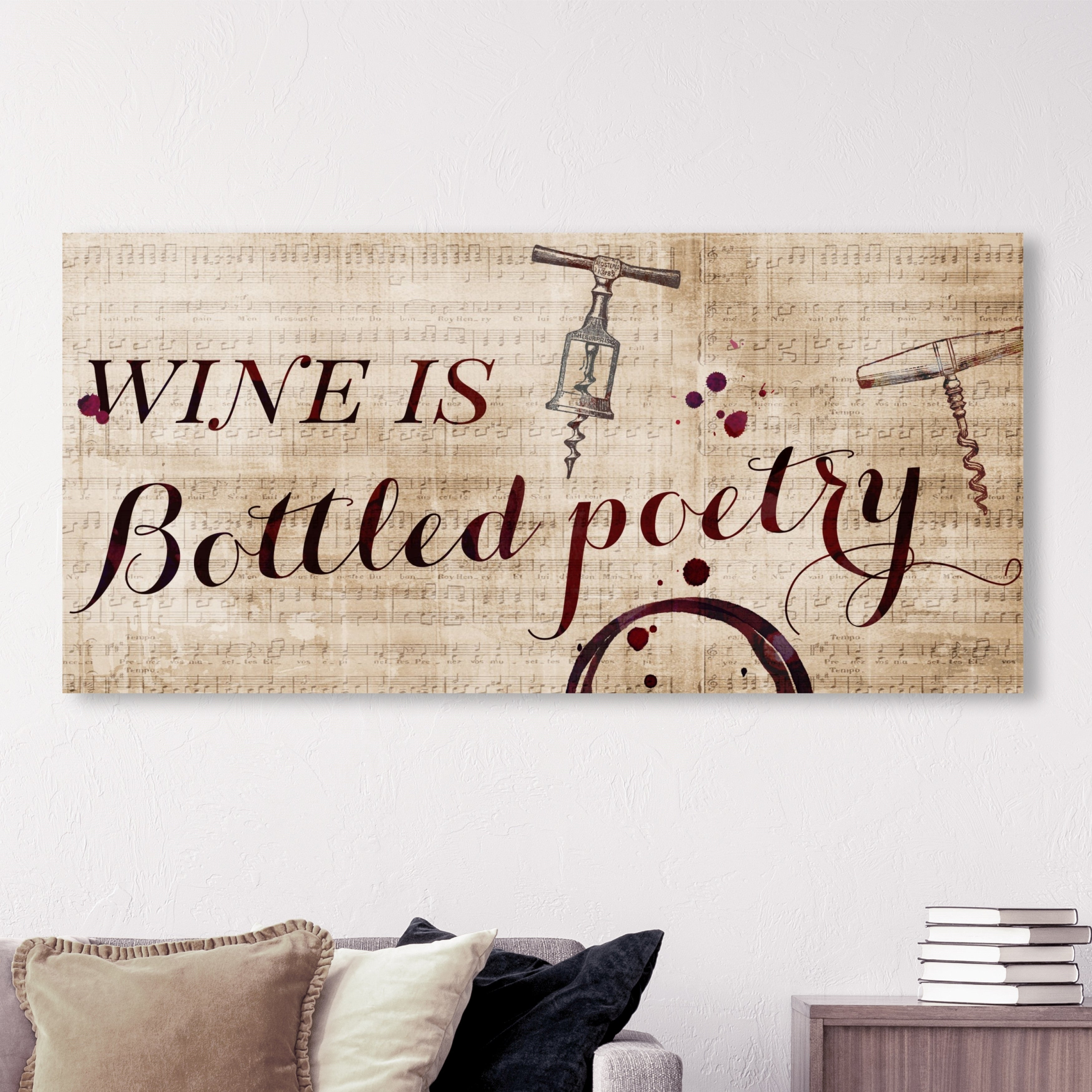 Oliver Gal Typography And Quotes Wall Art Canvas Prints Wine Is Bottled Poetry Family Quotes And Sayings Red Brown Overstock 29807059