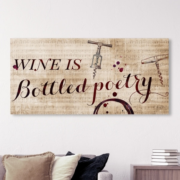 Oliver Gal Typography and Quotes Wall Art Canvas Prints 'Wine Is Bottled Poetry' Family Quotes and Sayings - Red, Brown