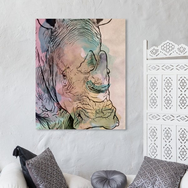 Oliver Gal 'Peaceful Beast' Animals Wall Art Canvas Print - Pink, Green
