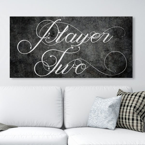 Oliver Gal 'Player Two' Typography and Quotes Wall Art Canvas Print - Black, White