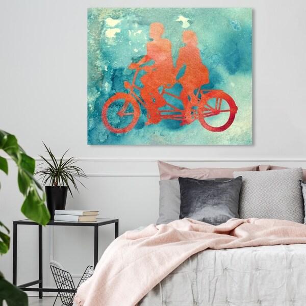 Oliver Gal 'La Bicyclette' Transportation Wall Art Canvas Print - Blue, Orange