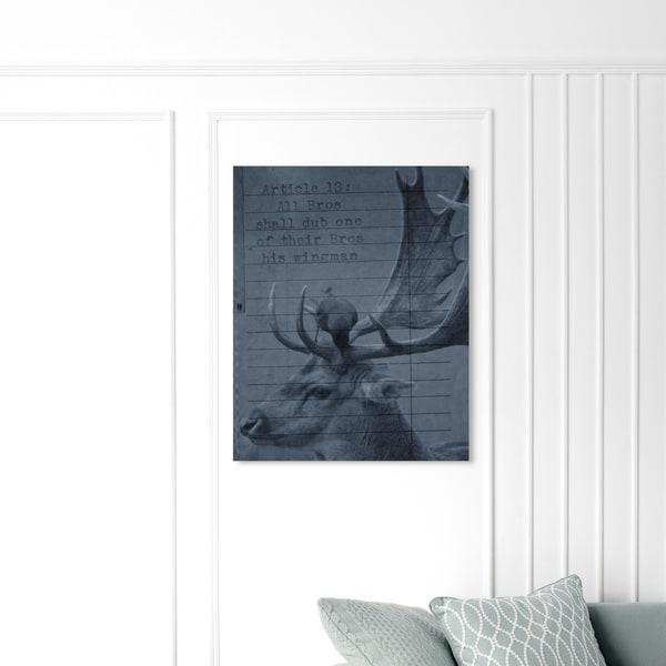 Oliver Gal 'Wingman' Animals Wall Art Canvas Print - Gray, Gray