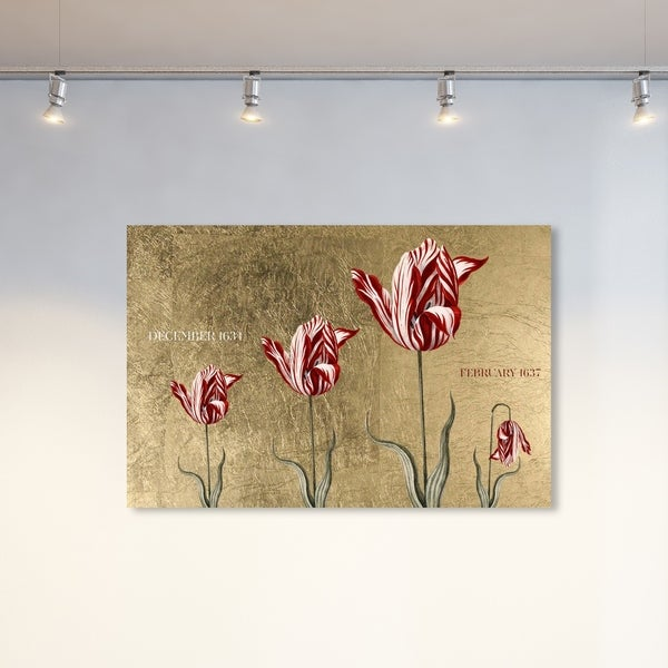 Oliver Gal 'Tulipomania' Floral and Botanical Wall Art Canvas Print - Red, Gold