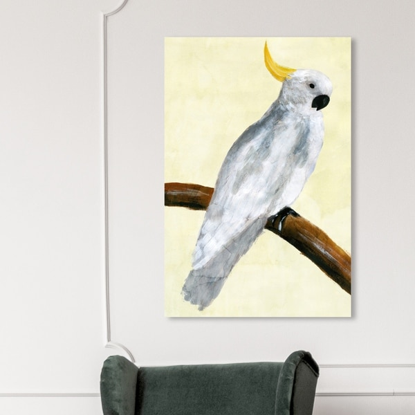 Oliver Gal 'Elegant Cockatoo' Animals Wall Art Canvas Print - White, Yellow