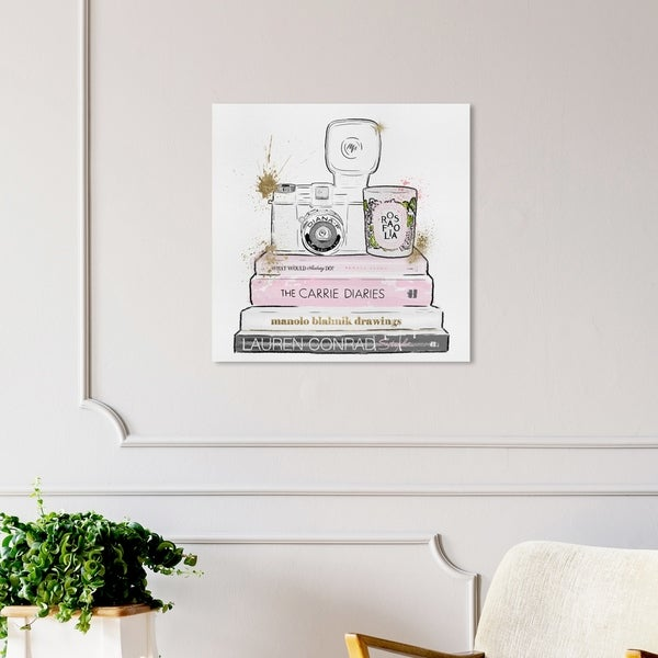 Oliver Gal 'Vintage Cameras and Fashion Day' Fashion and Glam Wall Art Canvas Print - Pink, White