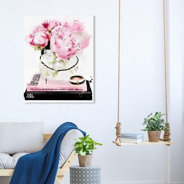 Oliver Gal 'Elegant Morning' Floral and Botanical Wall Art Canvas Print - Pink, Black
