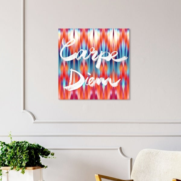 Oliver Gal 'Carpe Diem Ikat' Typography and Quotes Wall Art Canvas Print - Orange, Blue