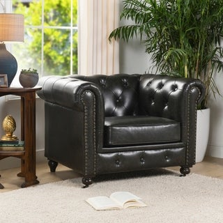Copper Grove Marchtrenk Vintage Black Leather Chesterfield Armchair