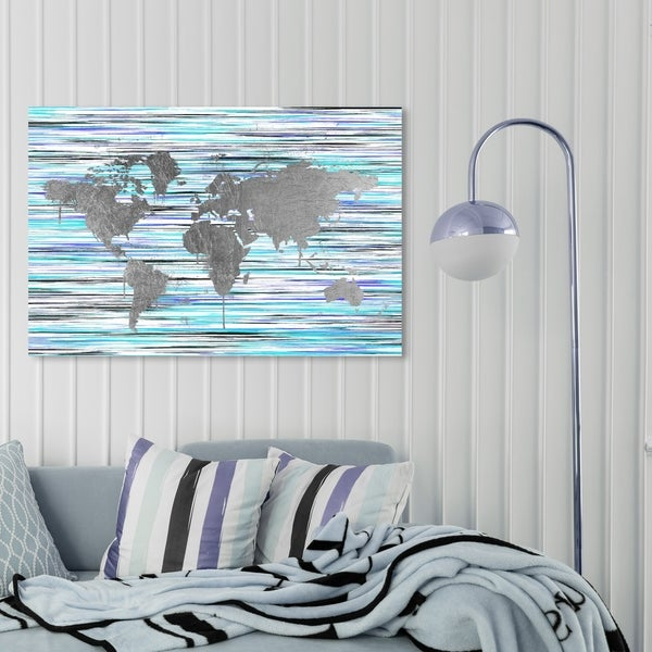 Oliver Gal 'Mapamundi Eclectic' Maps and Flags Wall Art Canvas Print - Gray, Purple
