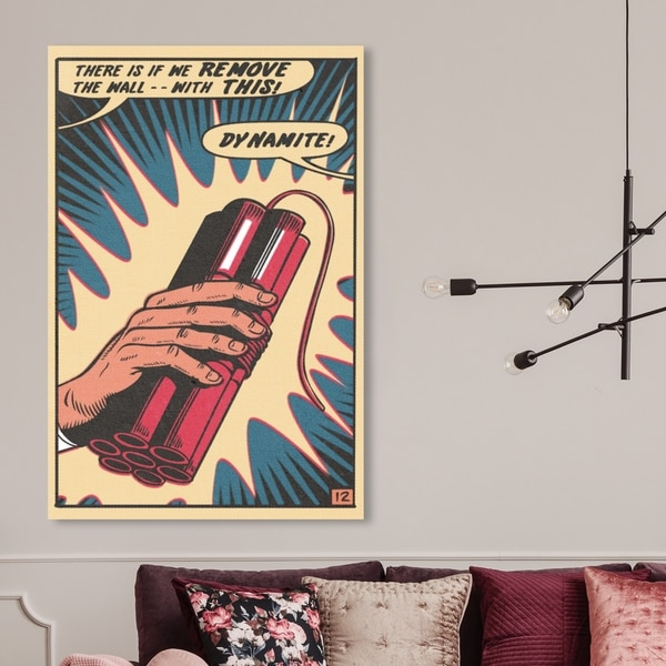Oliver Gal ' Dynamite' Advertising Wall Art Canvas Print - Red, Blue