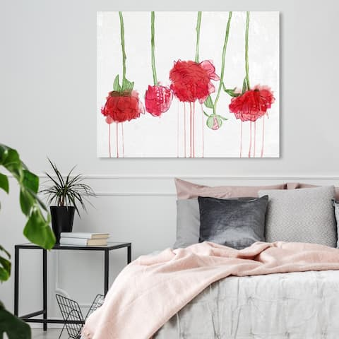 Oliver Gal 'Drying Carnations' Floral and Botanical Wall Art Canvas Print - Red, Green