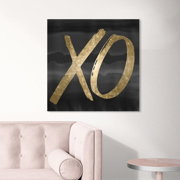 Oliver Gal 'XO Black' Typography and Quotes Wall Art Canvas Print - Gold, Black