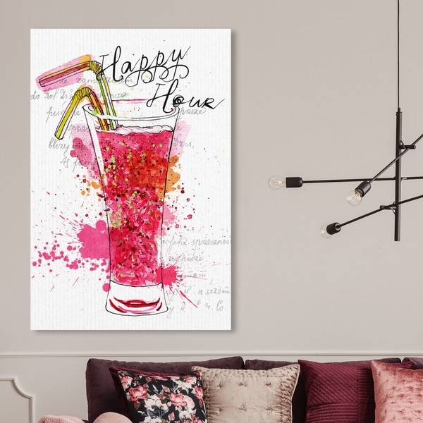 Oliver Gal 'Happy Hour' Drinks and Spirits Wall Art Canvas Print - Pink, White
