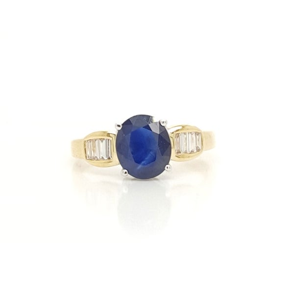 Kabella Yellow Gold Sapphire Tapered Diamond Ring. Opens flyout.