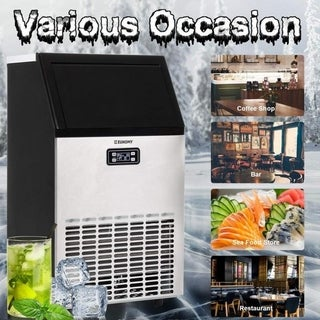 Euhomy Commercial Ice Maker Machine, 100lbs/24h Stainless Steel Ice Cube Machine with 33LBS Ice Storage Capacity, Free-Standing