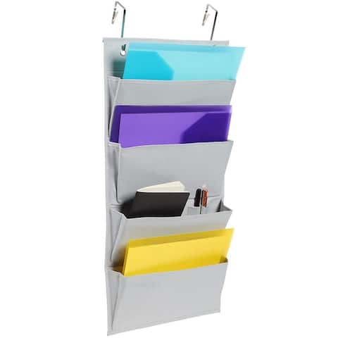 Over The Door Hanging File Organizer Storage, 4 Pockets, 27.5 x 13 Inches