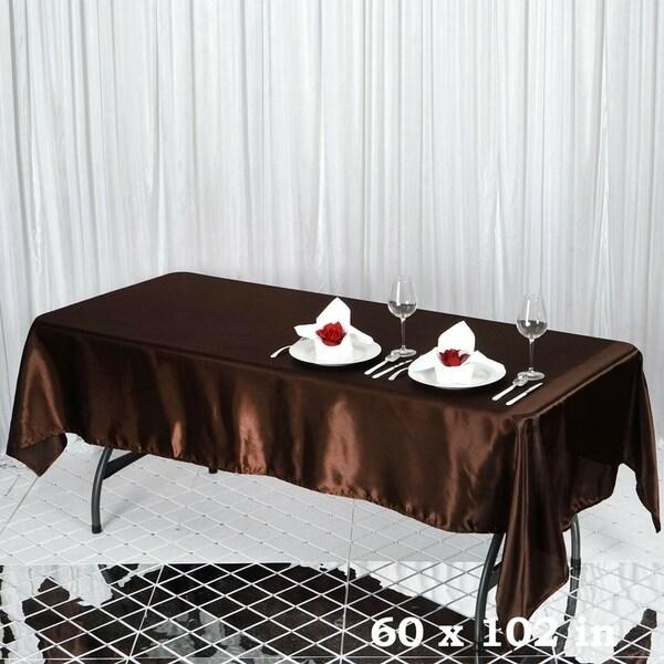 """Satin Rectangle Tablecloth 60"""" x 102"""" Chocolate"""