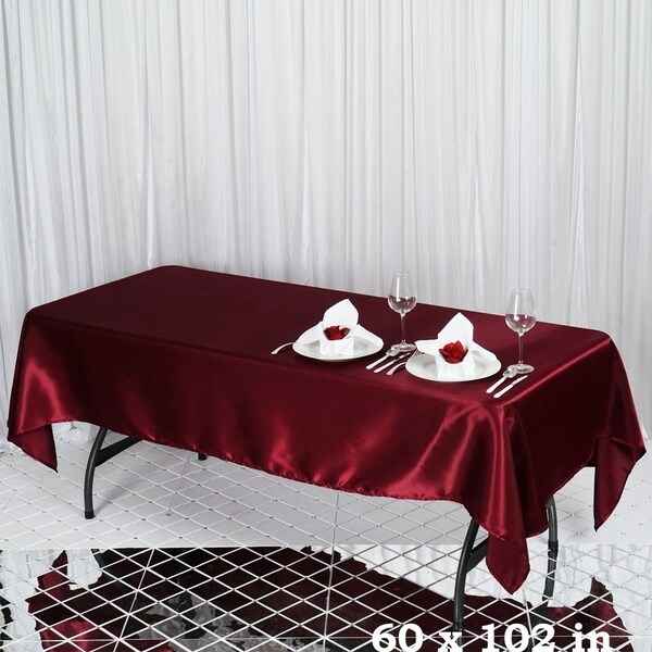 "Satin Rectangle Tablecloth 60"" x 102"" Burgundy"