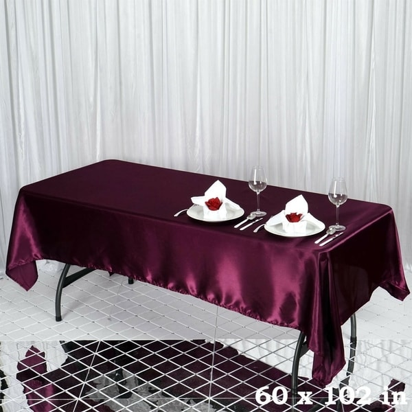 "Satin Rectangle Tablecloth 60"" x 102"" Eggplant"