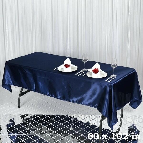 "Satin Rectangle Tablecloth 60"" x 102"" Navy Blue"