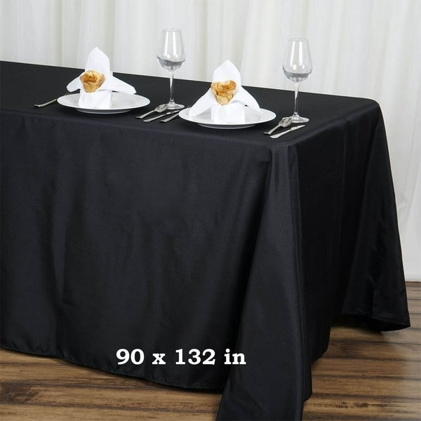 "Polyester Rectangle Party Tablecloth 90"" x 132"" Black"