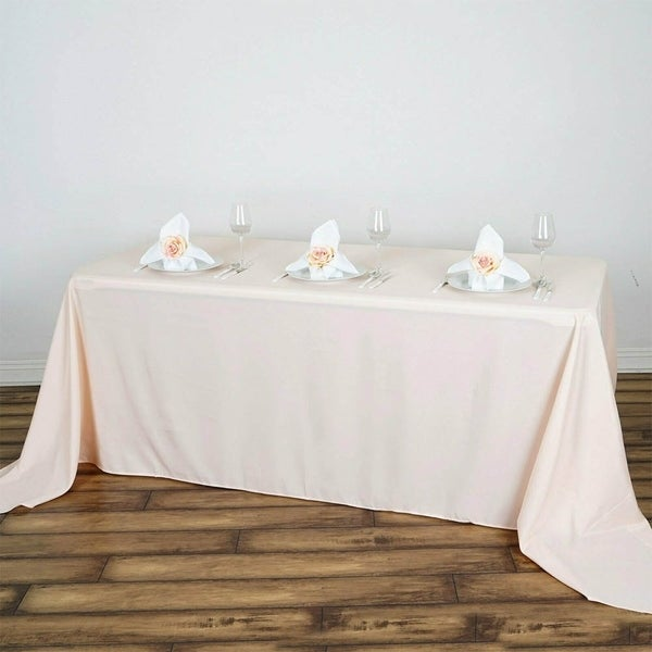 "Polyester Rectangle Party Tablecloth 90"" x 132"" Blush"
