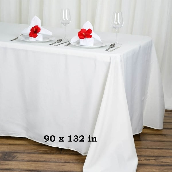 """Polyester Rectangle Party Tablecloth 90"""" x 132"""" Ivory"""