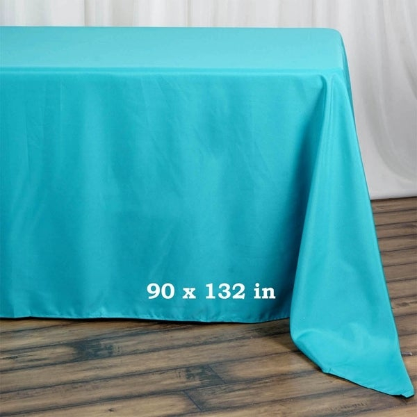 "Polyester Rectangle Party Tablecloth 90"" x 132"" Turquoise"