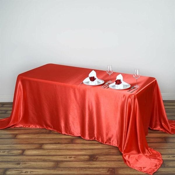 "Satin Rectangle Tablecloth 90"" x 132"" Coral"