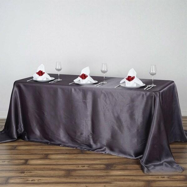 "Satin Rectangle Tablecloth 90"" x 132"" Grey"