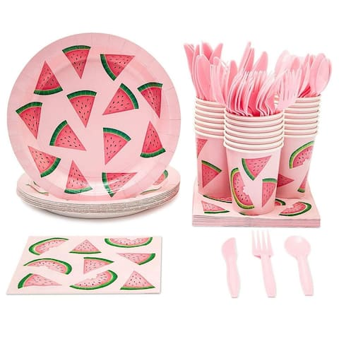 24 Set Watermelon Party Supply for Summer BBQ Birthday Poolside Party Pink/Green