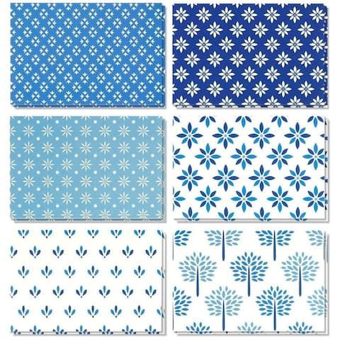 "48 All Occasion Blank Greeting Card Bulk Set Blue Floral Foliage Designs, 4""x6"""