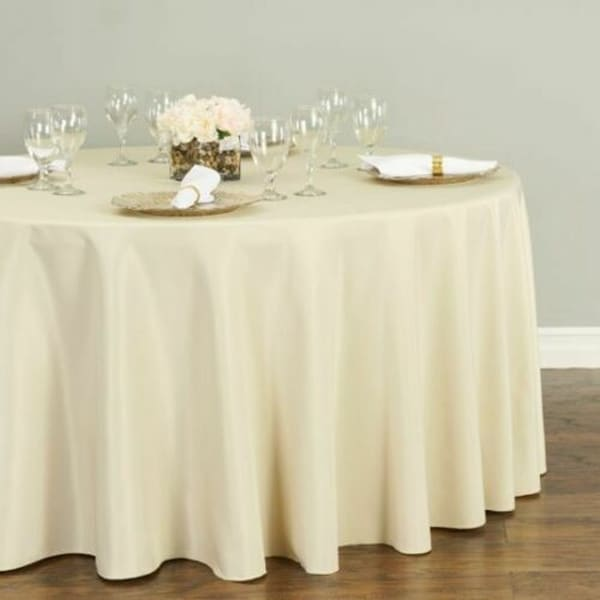 "Polyester Round Tablecloth 120"" Beige"
