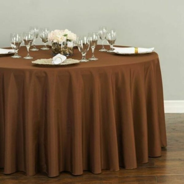 """Polyester Round Tablecloth 120"""" Chocolate"""