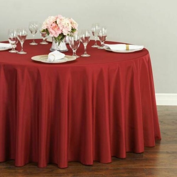 """Polyester Round Tablecloth 120"""" Burgundy"""