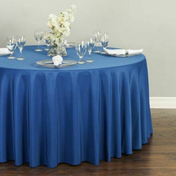 """Polyester Round Tablecloth 120"""" Royal Blue"""
