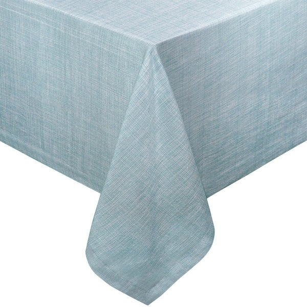 Chambray Vinyl Flannel Backing Rectangle Table Cloth 52 X 70 Blue