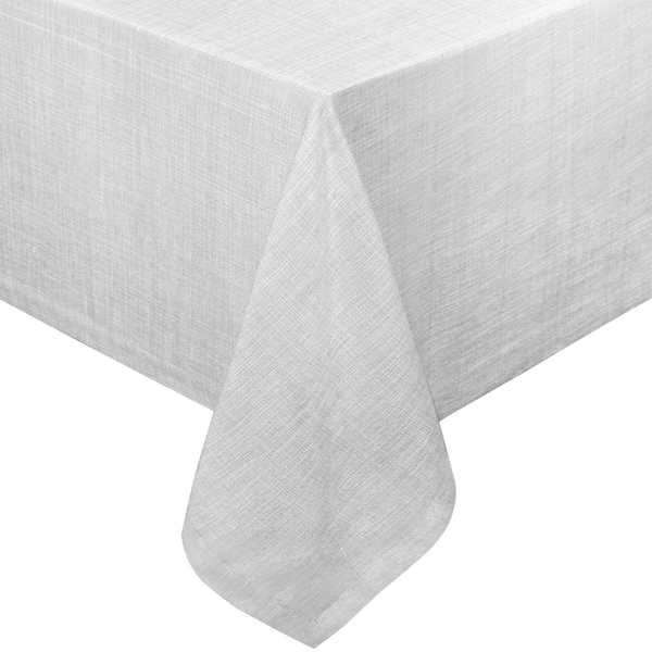 "Chambray Vinyl Flannel Backing Rectangle Table Cloth 52"" x 70"" Gray"