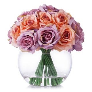 Enova Home Purple Peach Silk Rose Flower Arrangement in Clear Glass Vase With Faux Water For Home Decoration - N/A